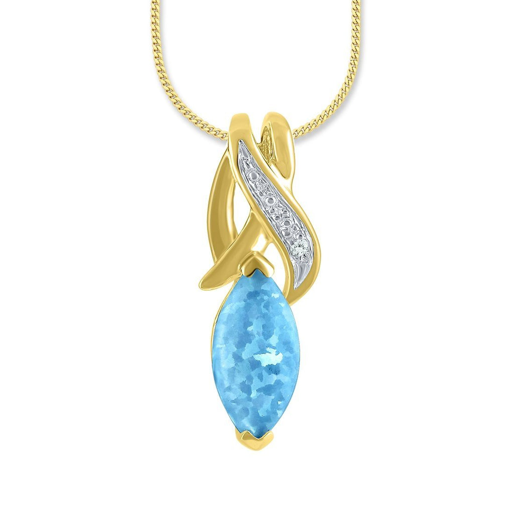 9ct Yellow Gold Diamond Set Created Blue Opal Marquise Necklace