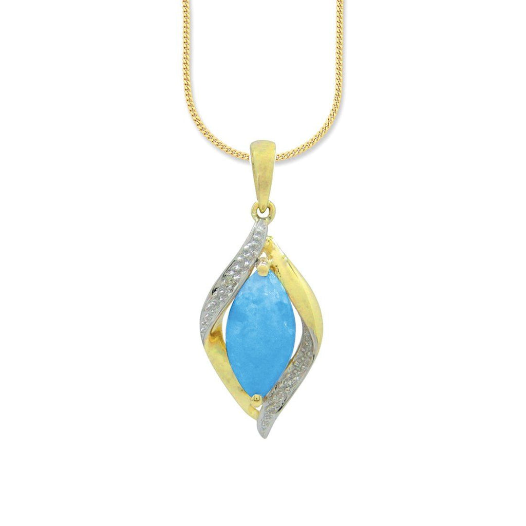 9ct Yellow Gold Diamond Set Created Blue Opal Necklace Necklaces Bevilles