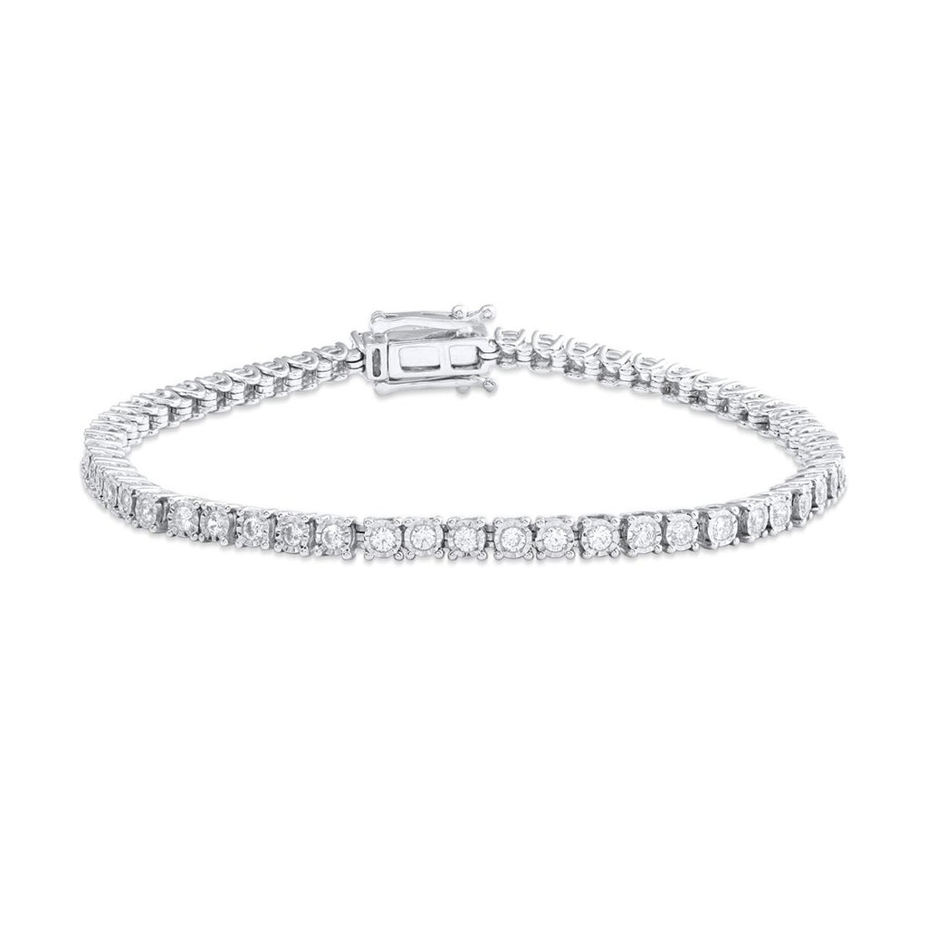 9ct White Gold 2.00ct Diamond Tennis Bracelet