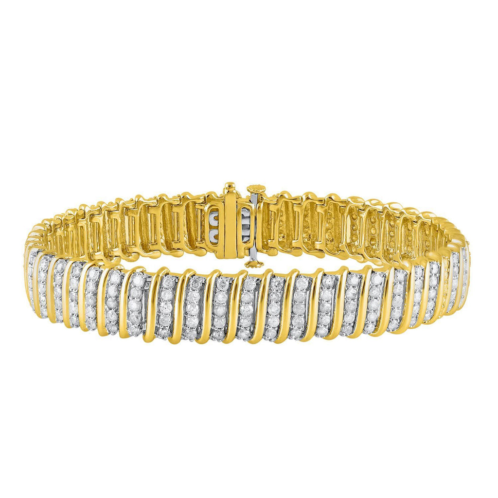 9ct Yellow Gold Fancy Link Bracelet with 5.00ct of Diamonds