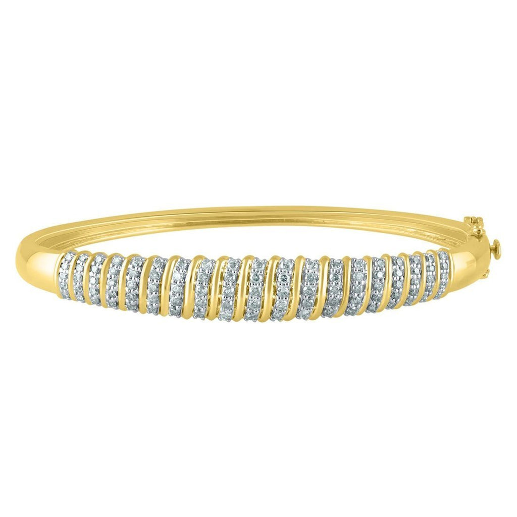 9ct Yellow Gold 1.27ct Diamond Bangle Bracelets Bevilles