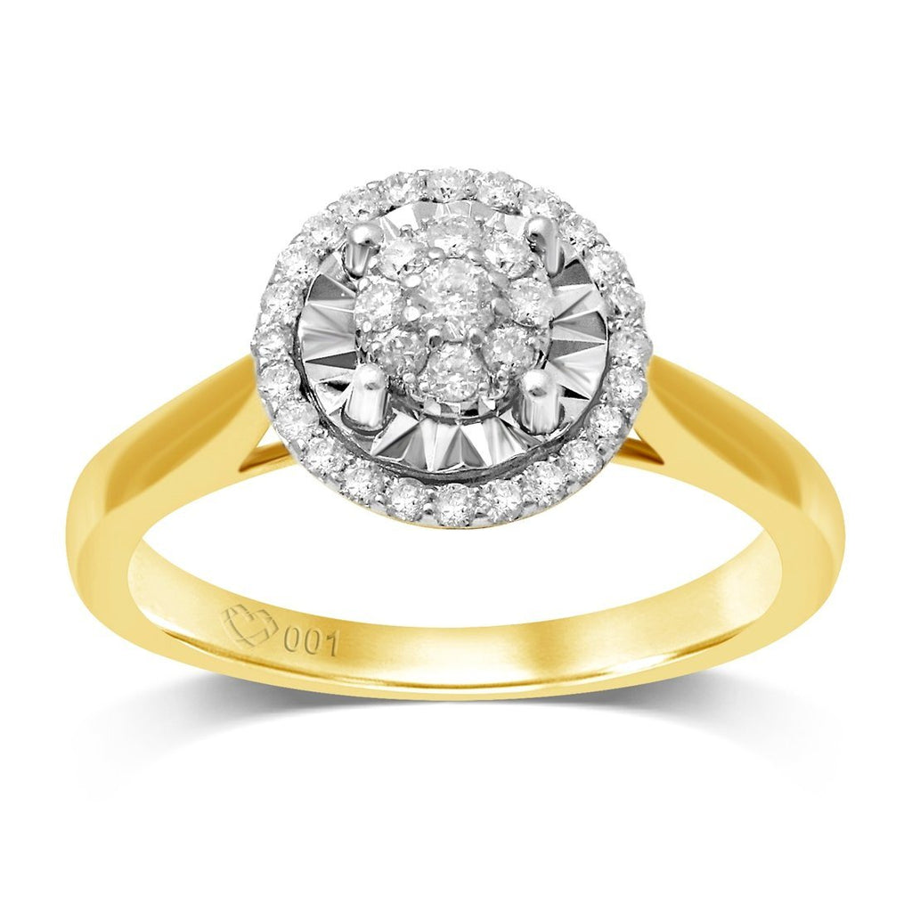 Limited Edition Miracle Halo Ring with 1/5ct of Diamonds in 9ct Yellow Gold Rings Bevilles