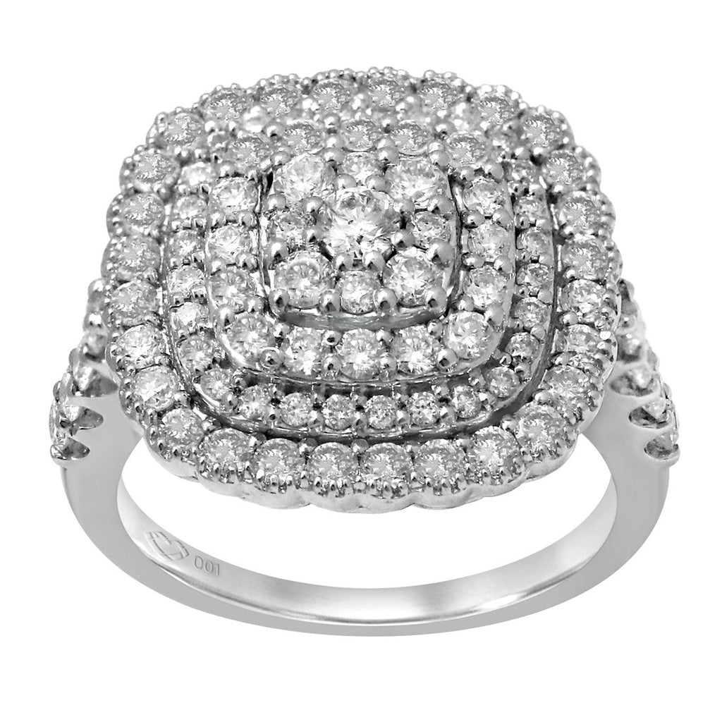 Limited Edition Brilliant Cluster Ring with 1.60ct of Diamonds in 9ct White Gold