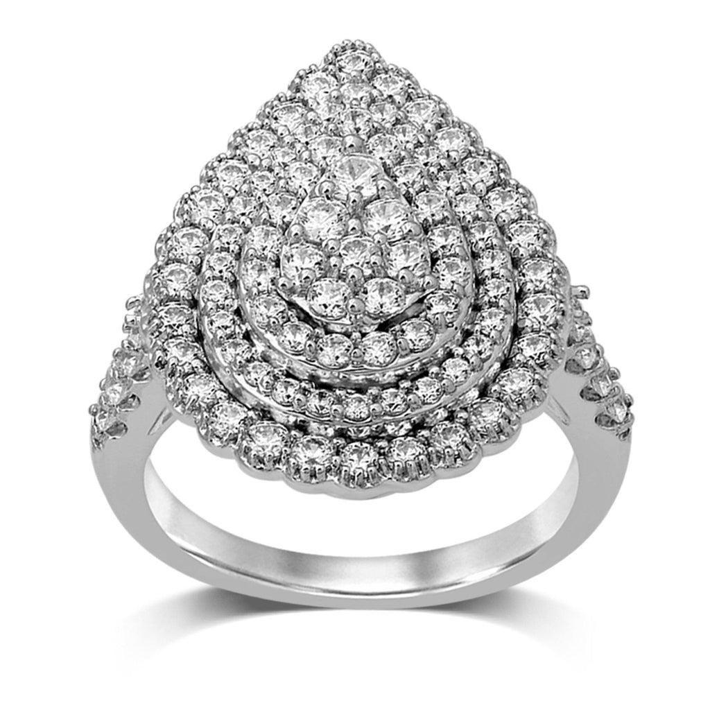 Limited Edition Pear Double Halo Ring with 1.60ct of Diamonds in 9ct White Gold Rings Bevilles