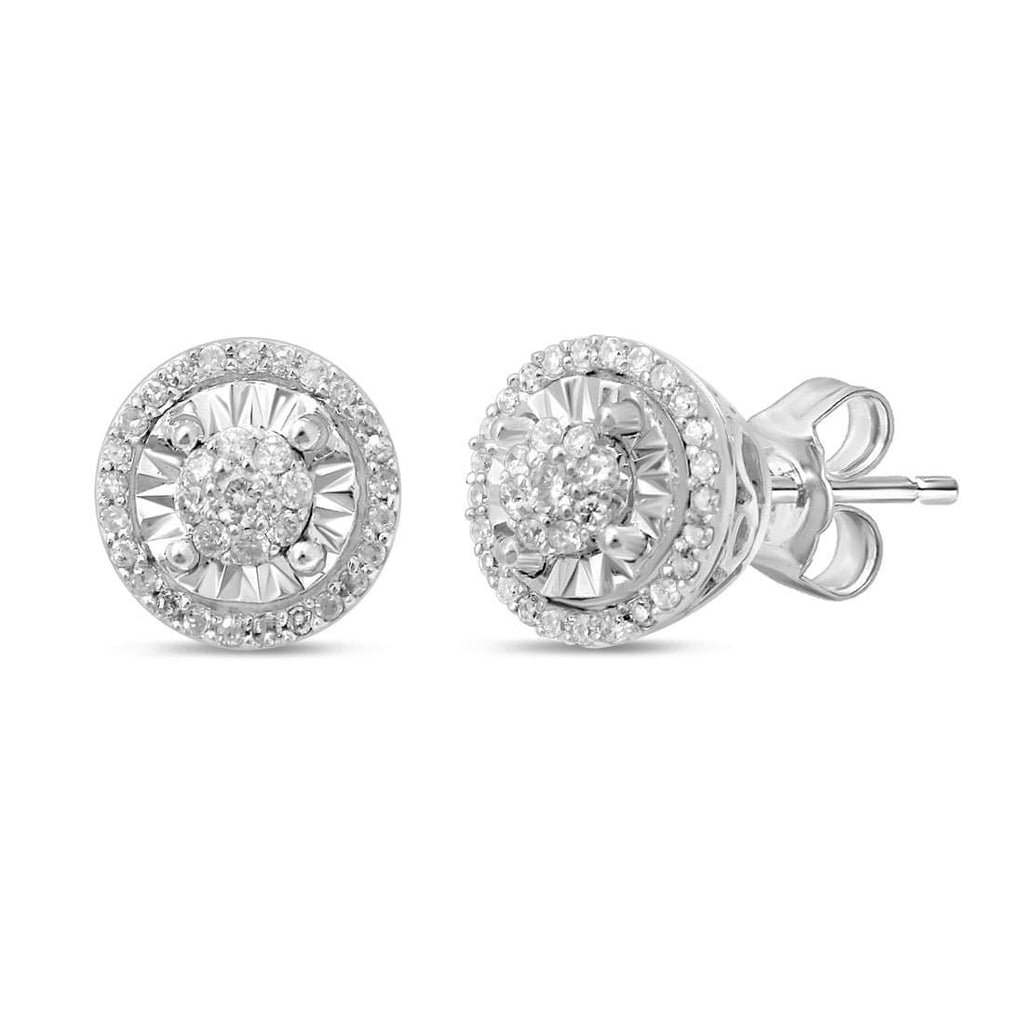 Limited Edition 9ct White Gold 1/5ct of Diamonds Halo Stud Earrings Earrings Bevilles