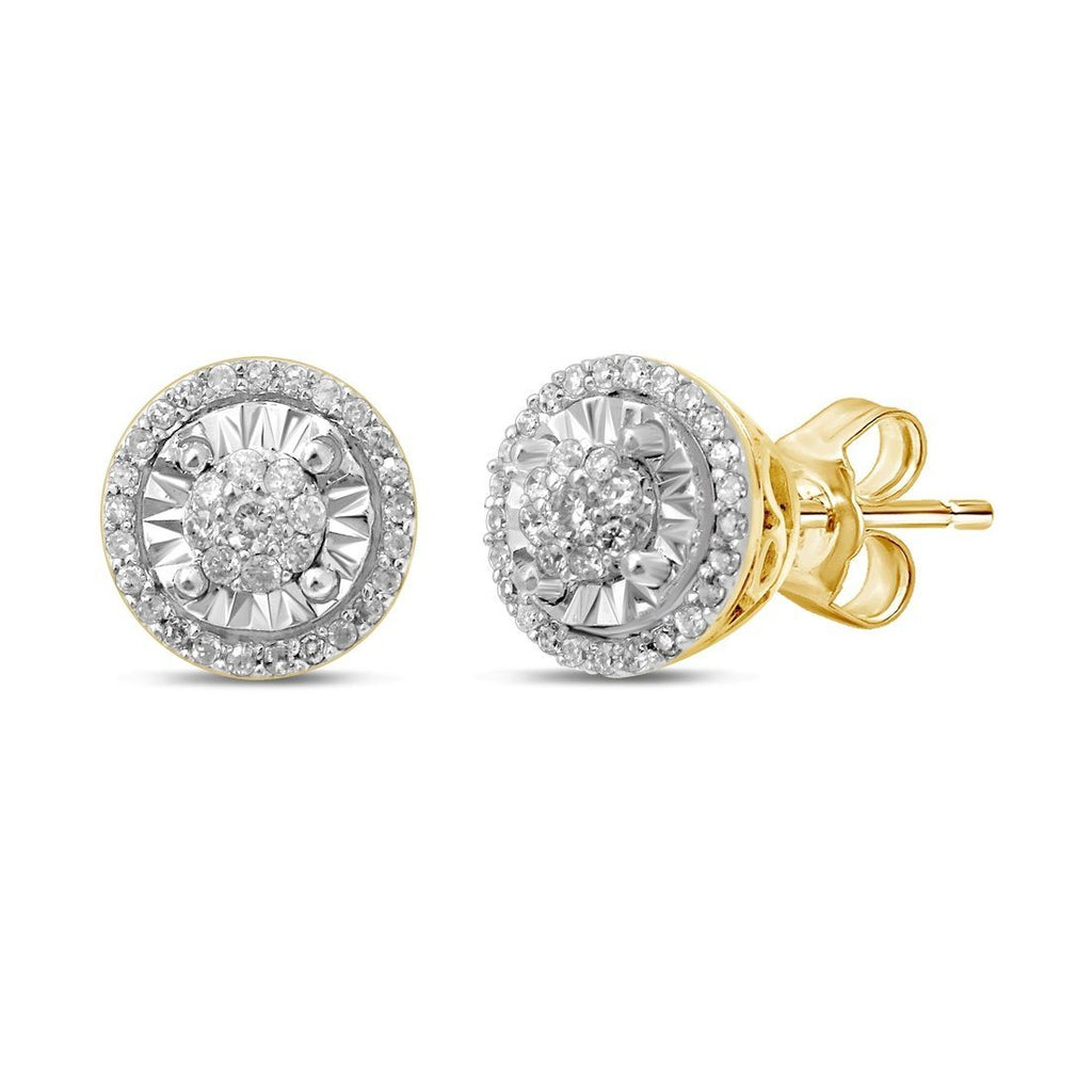 Limited Edition Miracle Halo Stud Earrings with 1/5ct of Diamonds in 9ct Yellow Gold Earrings Bevilles