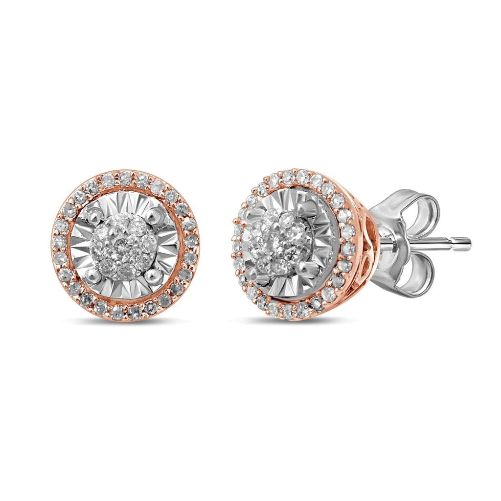 Limited Edition 9ct White & Rose Gold 1/5ct of Diamonds Earrings Earrings Bevilles