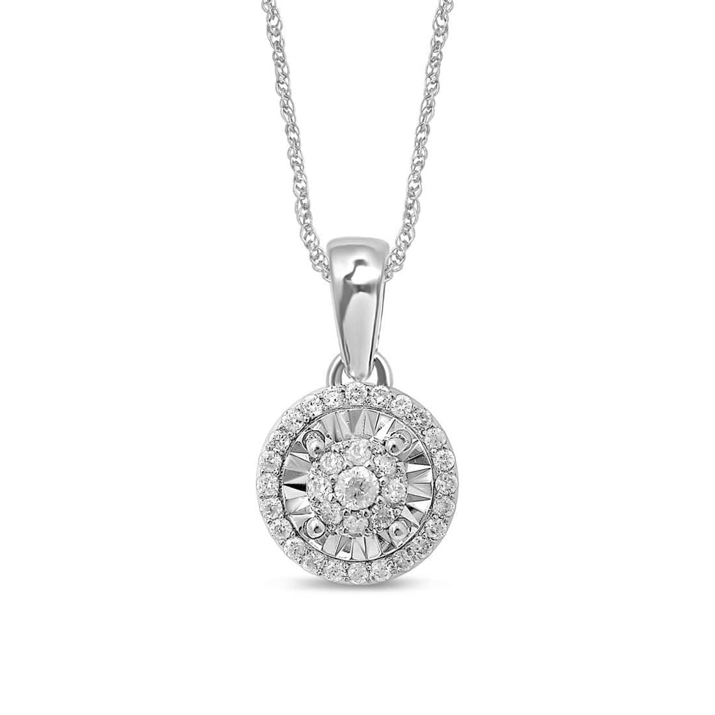 Limited Edition 9ct White Gold 1/5ct of Diamonds Halo Necklace Necklaces Bevilles