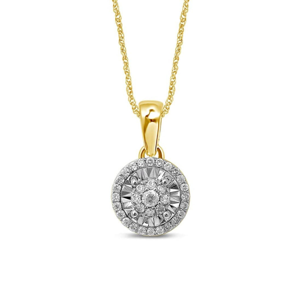 Limited Edition Miracle Halo Necklace with 1/5ct of Diamonds in 9ct Yellow Gold Necklaces Bevilles