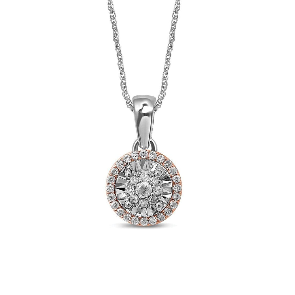 Limited Edition 9ct White & Rose Gold 1/4ct Diamond Pendant