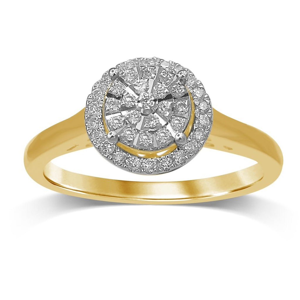 Martina Solitaire Look Halo Ring with 1/5ct of Diamonds in 9ct Yellow Gold Rings Bevilles