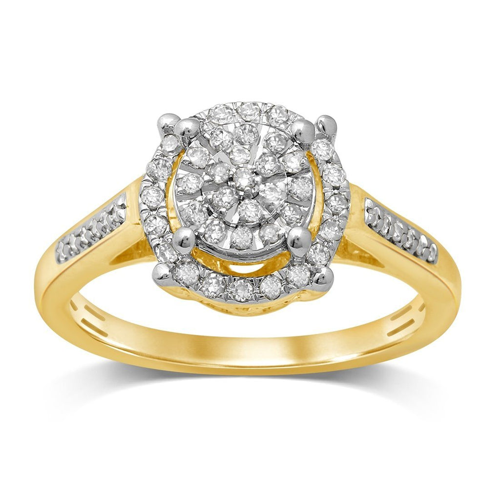 Martina Solitaire Look Halo Ring with 1/4ct of Diamonds in 9ct Yellow Gold