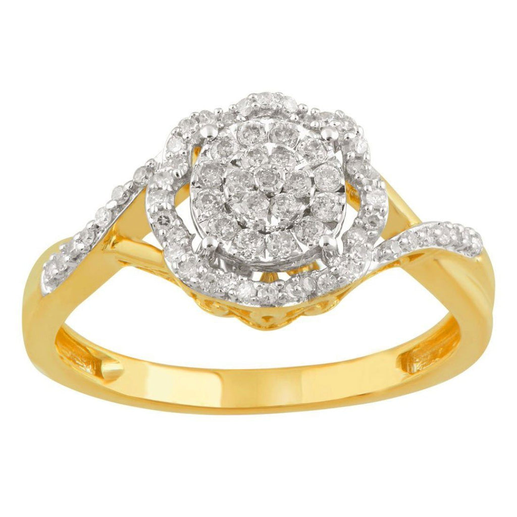 Martina Soft Scallop Ring with 1/4ct of Diamonds in 9ct Yellow Gold