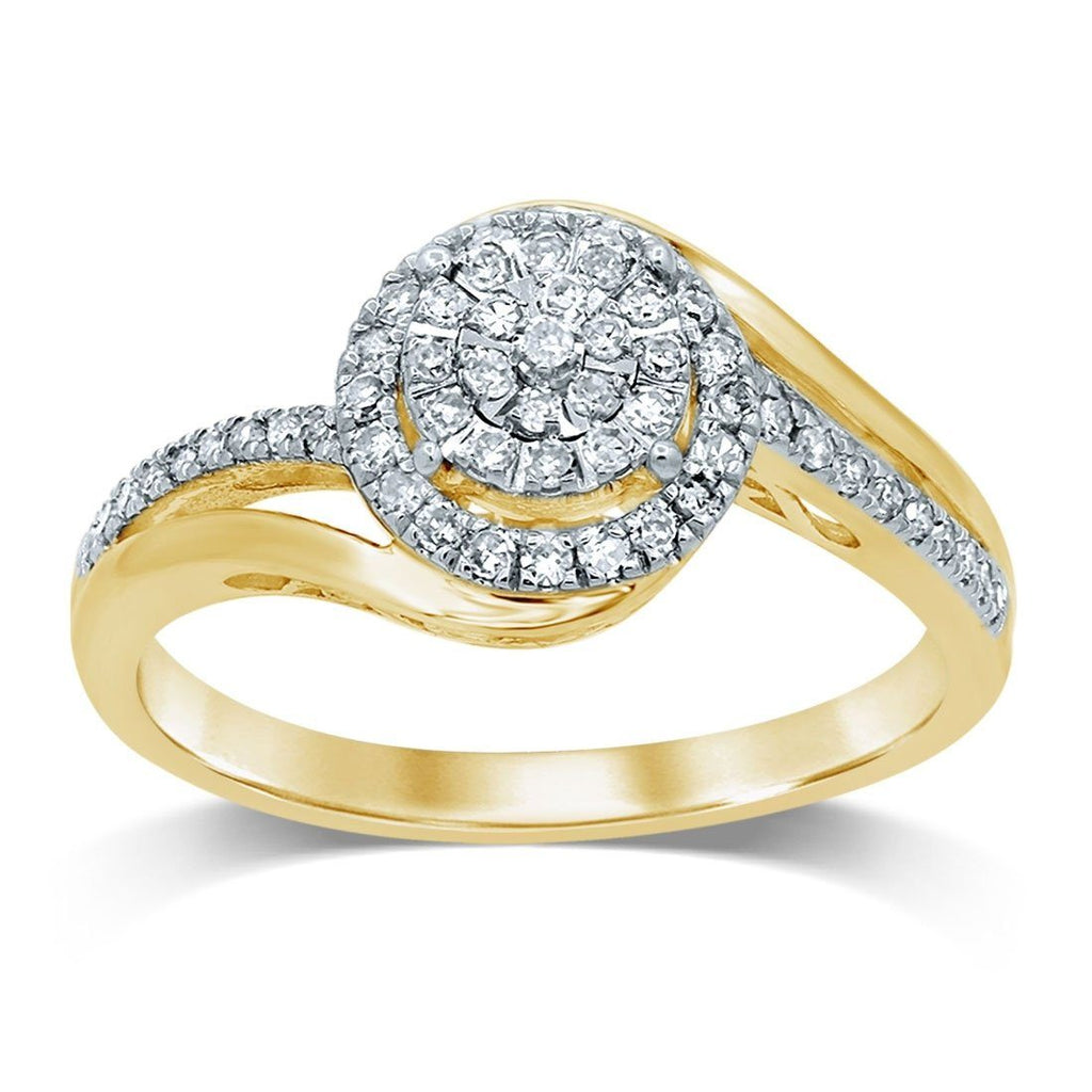 Martina Solitaire Look Sweep Ring with 1/3ct of Diamonds in 9ct Yellow Gold