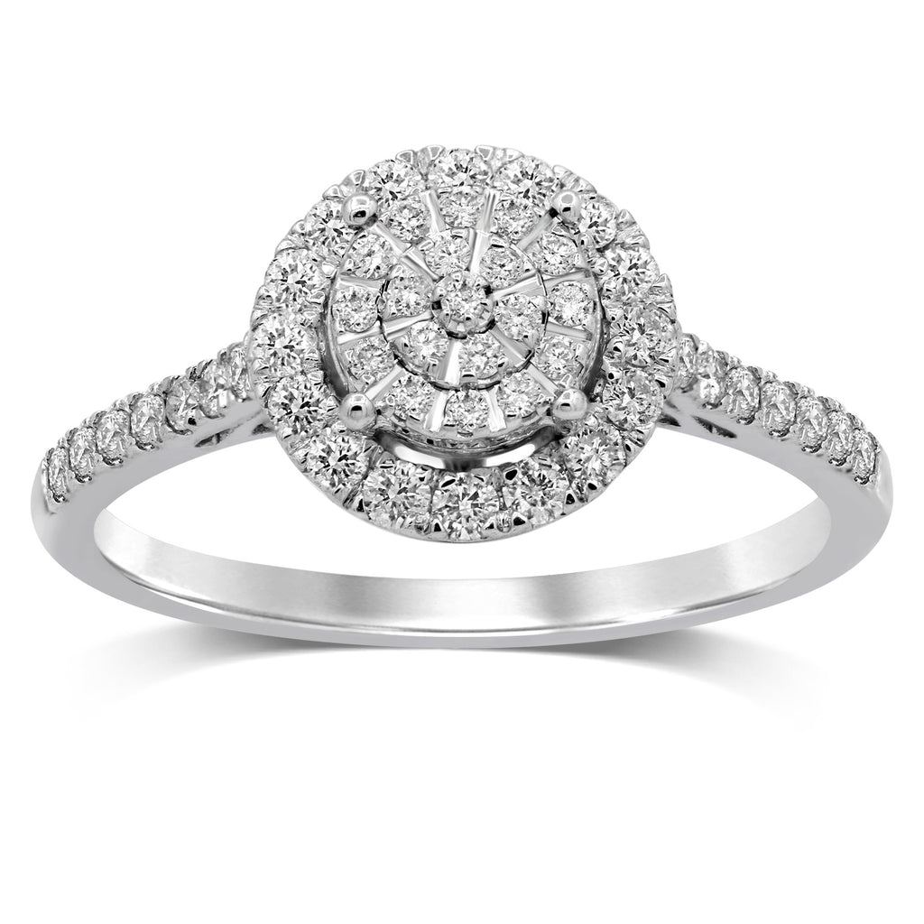 Martina Brilliant Illusion Halo Ring with 1/2ct of Diamonds in 9ct White Gold Rings Bevilles