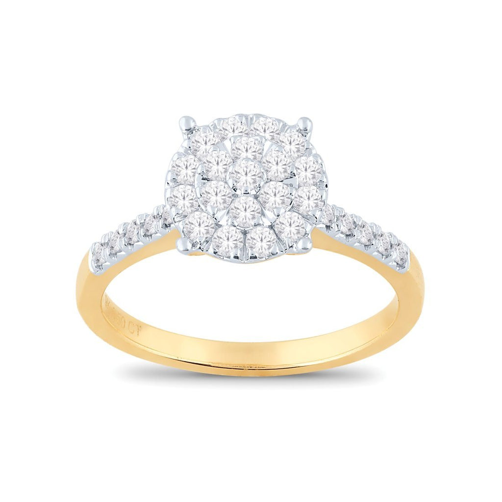 Martina Solitaire Look Ring with 1/2ct of Diamonds in 9ct Yellow Gold Rings Bevilles