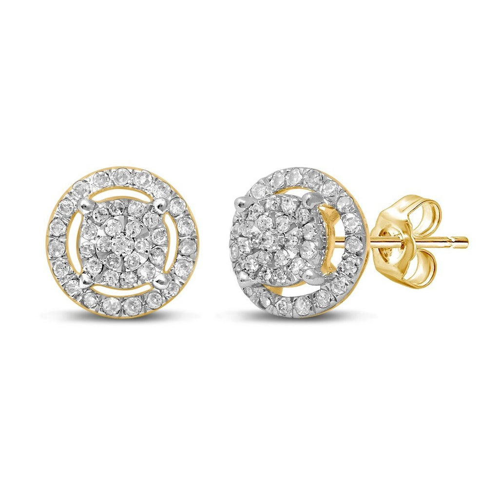 Martina Halo Solitaire Look Earrings with 1/3ct of Diamonds in 9ct Yellow Gold Earrings Bevilles