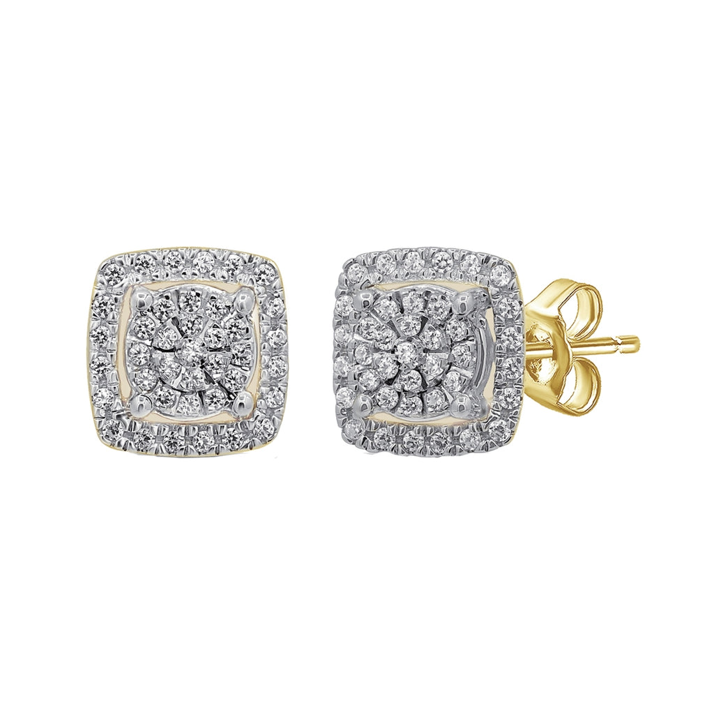 Martina Square Halo Earrings with 1/3ct of Diamonds in 9ct Yellow Gold