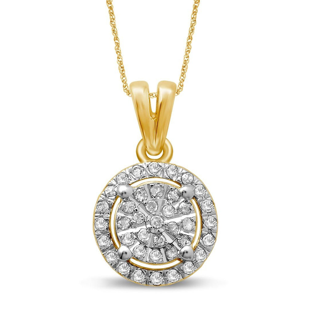Martina Halo Necklace with 1/5ct of Diamonds in 9ct Yellow Gold Necklaces Bevilles