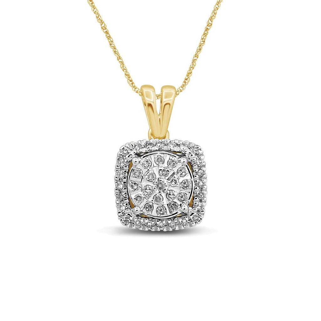 Martina Sqaure Halo Necklace with 1/5ct of Diamonds in 9ct Yellow Gold Necklaces Bevilles