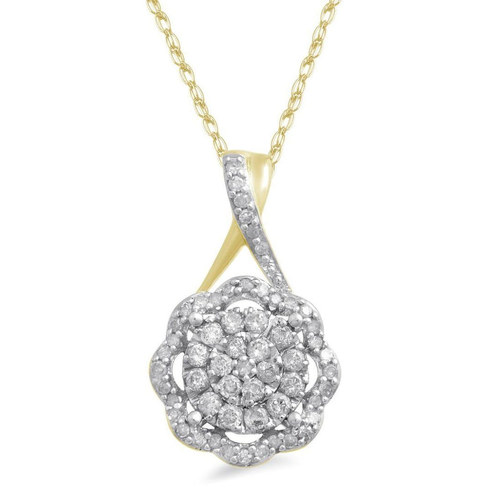 Martina Soft Scallop necklace with 1/4ct of Diamonds in 9ct Yellow Gold
