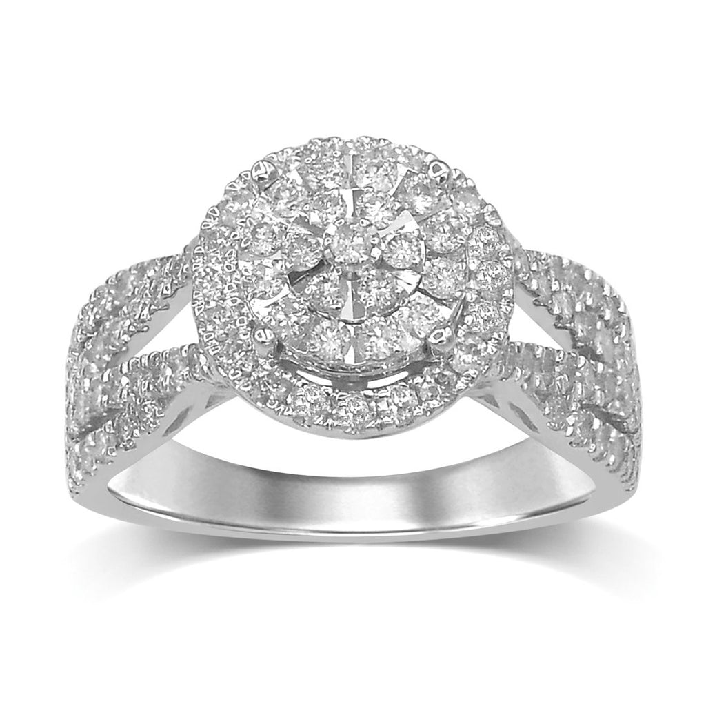 Martina Brilliant Illusion Halo Ring with 1.00ct of Diamonds in 9ct White Gold Rings Bevilles