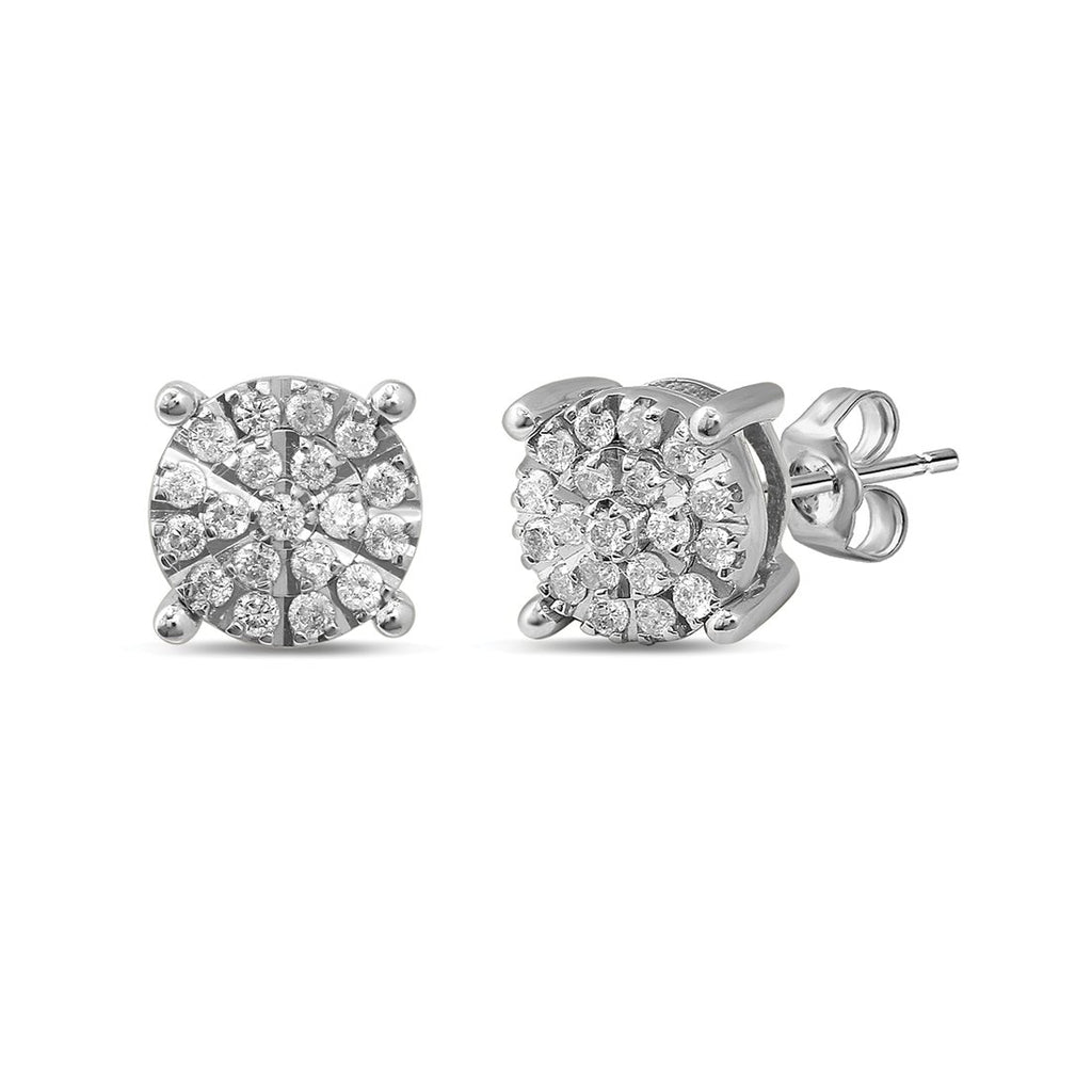 Martina Brilliant Illusion Earrings with 1/4ct of Diamonds in 9ct White Gold Earrings Bevilles