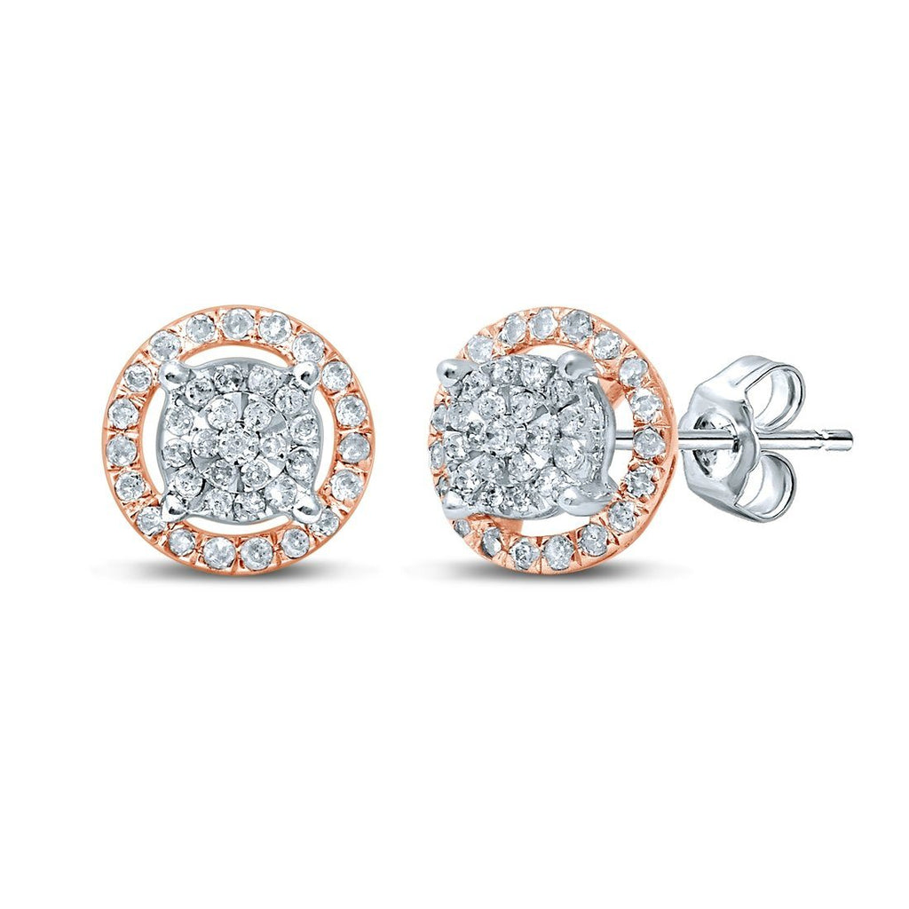 Martina Solitaire Look Halo Earrings with 1/3ct of Diamonds in 9ct White & Rose Gold Earrings Bevilles