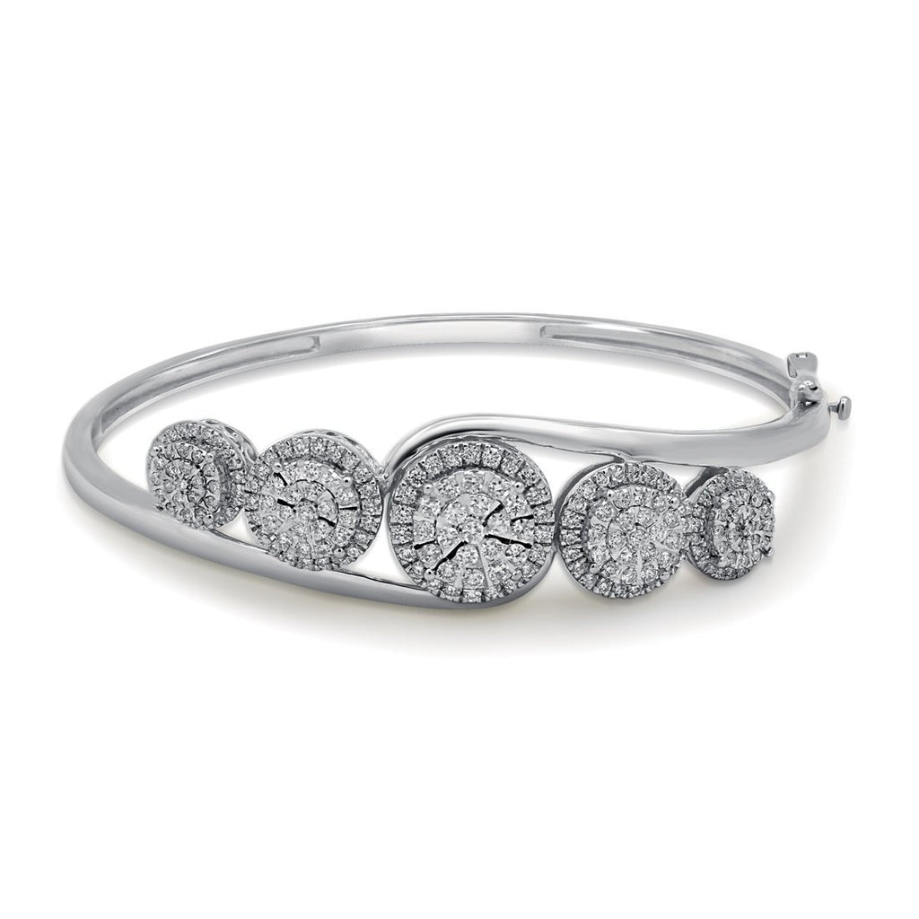 Martina Halo 5 Station Bangle with 1.75ct of Diamonds in 9ct White Gold Bracelets Bevilles