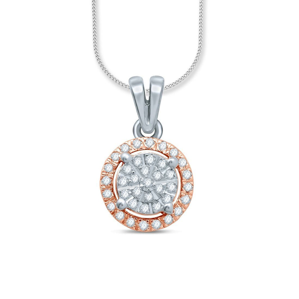 Martina Solitaire Look Necklace with 0.10ct of Diamonds in 9ct Rose Gold & Sterling Silver Necklaces Bevilles