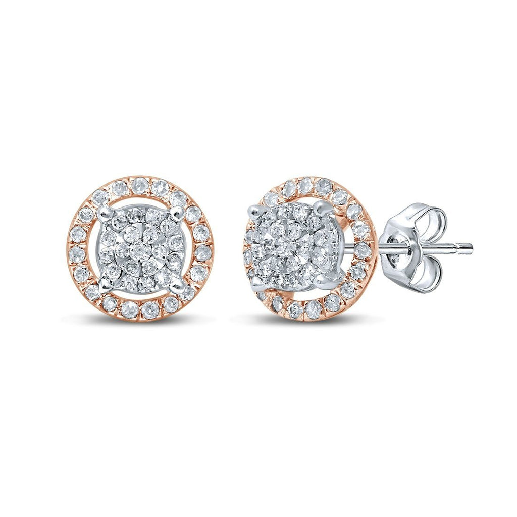 Martina Solitaire Look Earrings with 0.10ct of Diamonds in 9ct Rose Gold & Sterling Silver Earrings Bevilles