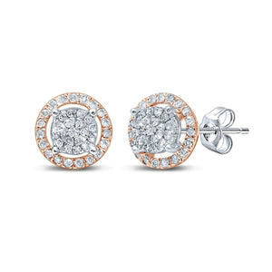 Martina Solitaire Look Earrings with 0.10ct of Diamonds in 9ct Rose Gold & Sterling Silver