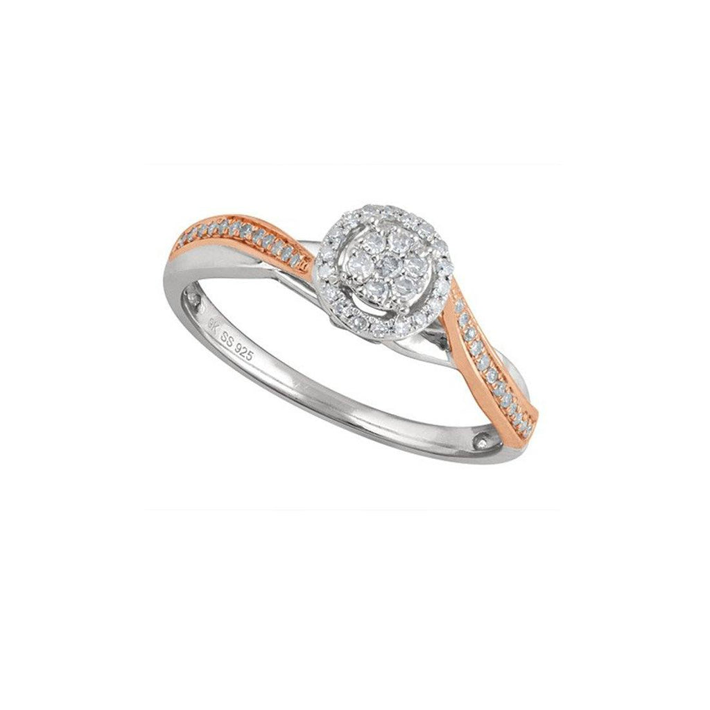 Brilliant Illusion Ring with 0.15ct of Diamonds in 9ct Rose Gold & Sterling Silver Rings Bevilles
