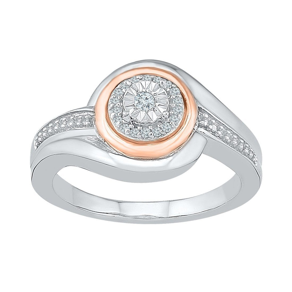 Sterling Silver & 9ct Rose Gold Diamond Set Ring Rings Bevilles