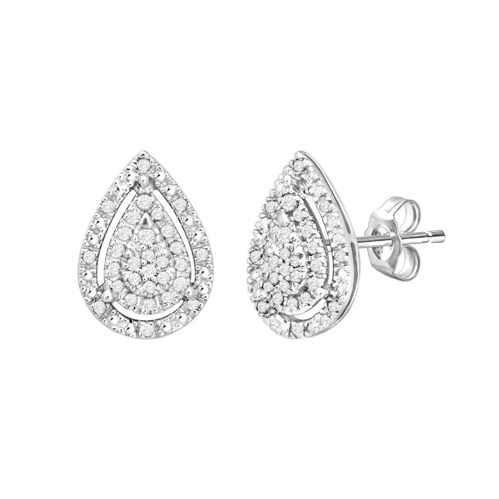 Sterling Silver 0.10ct Diamonds Pear Shape Earrings Earrings Bevilles