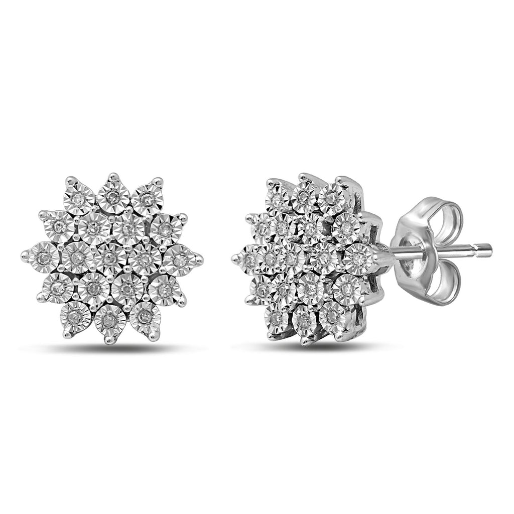 Sterling Silver 0.07ct Diamond Cluster Stud Earrings