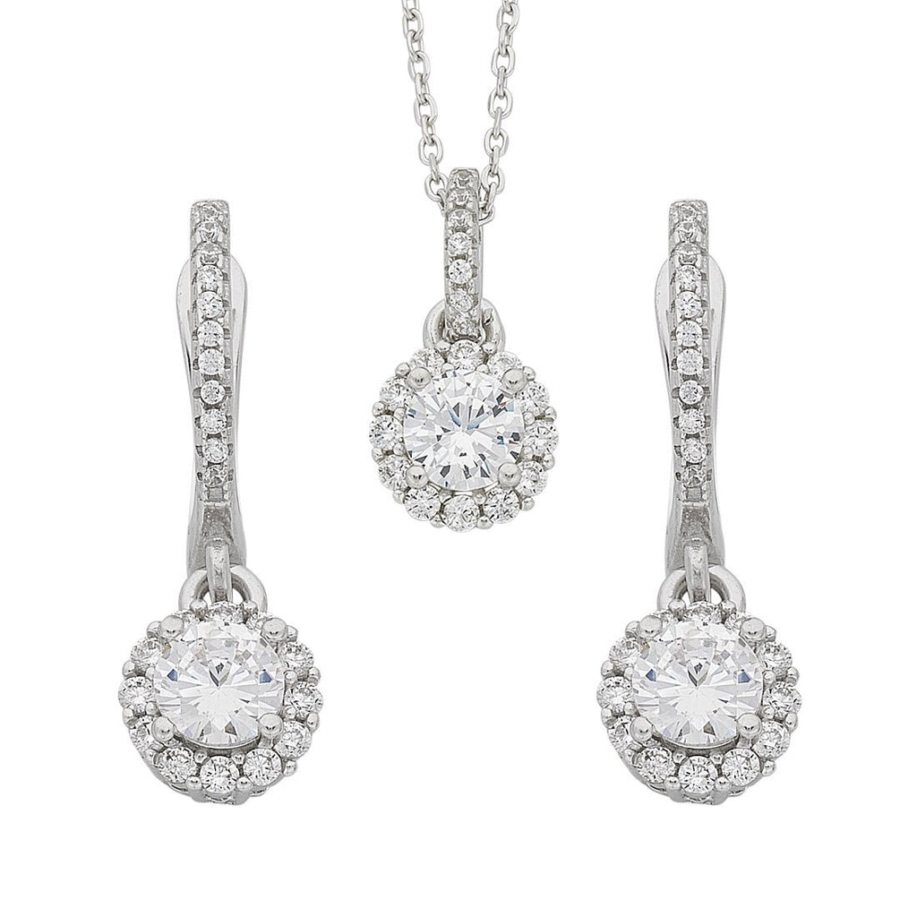 Sterling Silver Cubic Zirconia Necklace and Earrings Set Earrings Bevilles