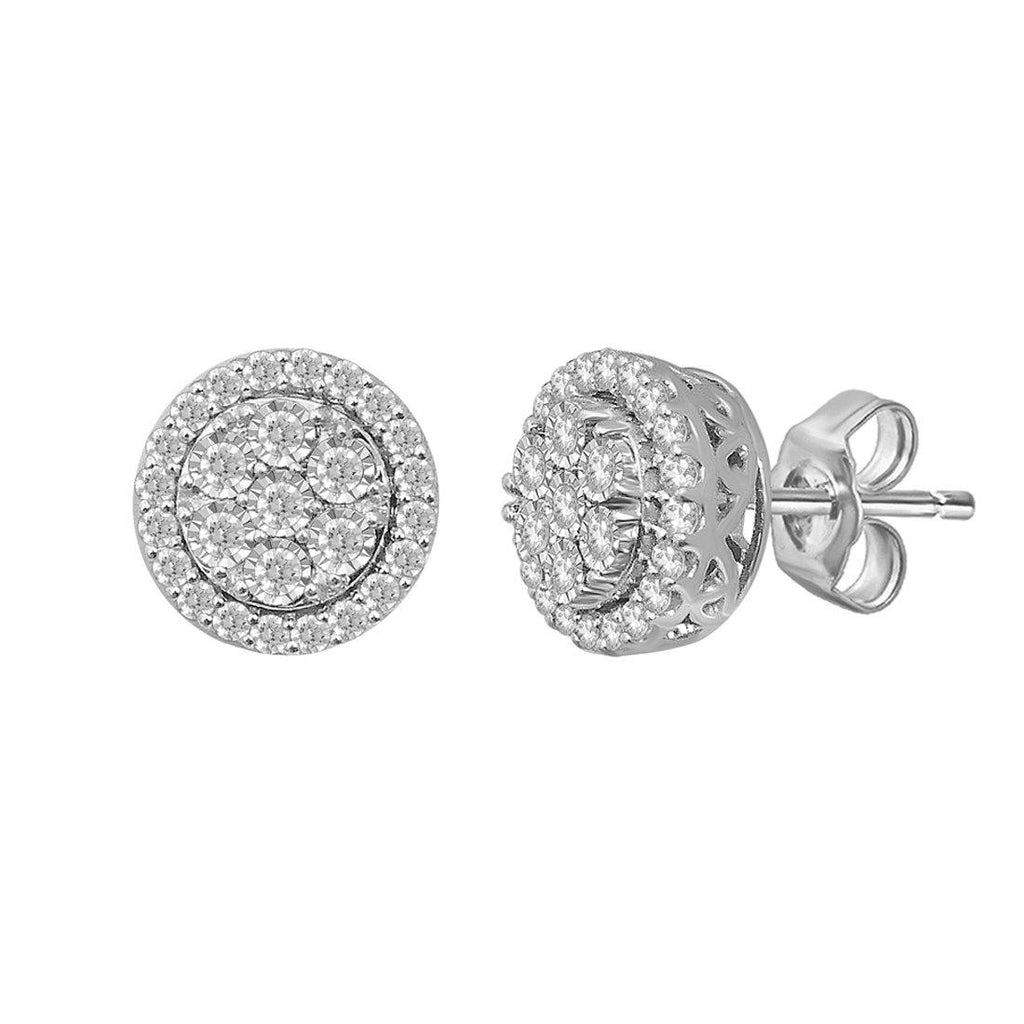 Brilliant Illusion Round Stud Earrings with 1.00ct of Diamonds in Sterling Silver Earrings Bevilles