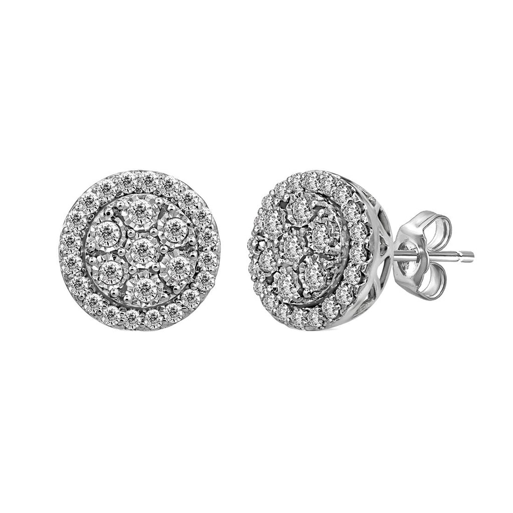 Brilliant Miracle Halo Stud Earrings with 1.00ct of Diamonds in Sterling Silver Earrings Bevilles