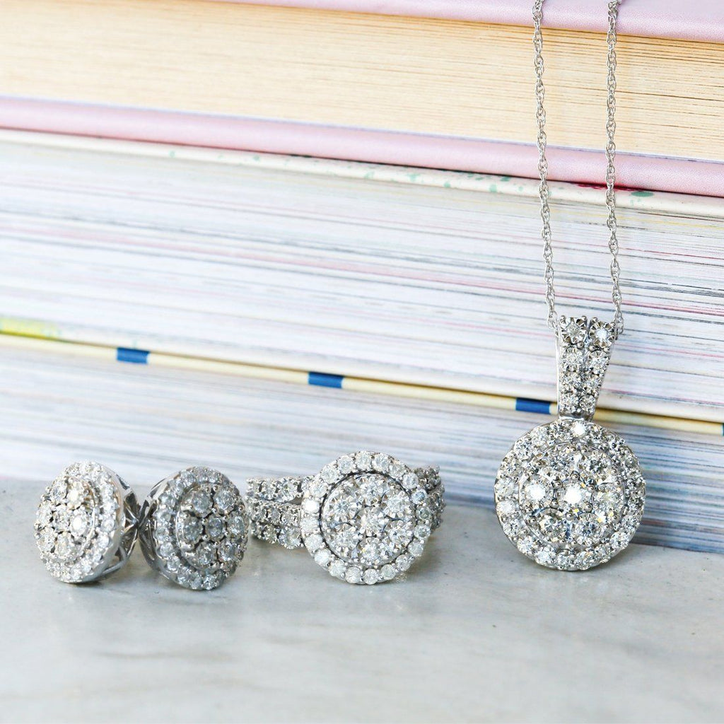Sterling Silver 1.00ct of Diamonds Halo Necklace