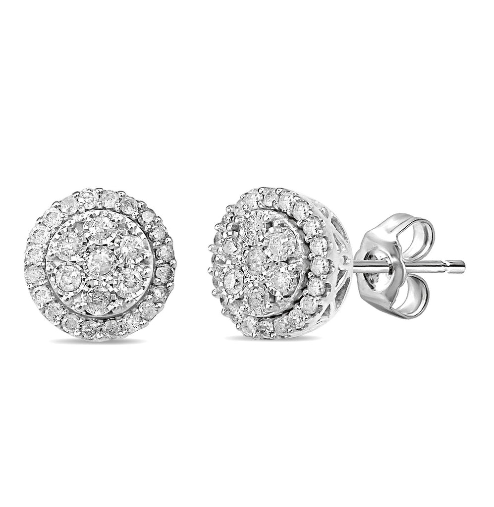 Sterling Silver 1.00ct Diamond Brilliant Illusion Earrings