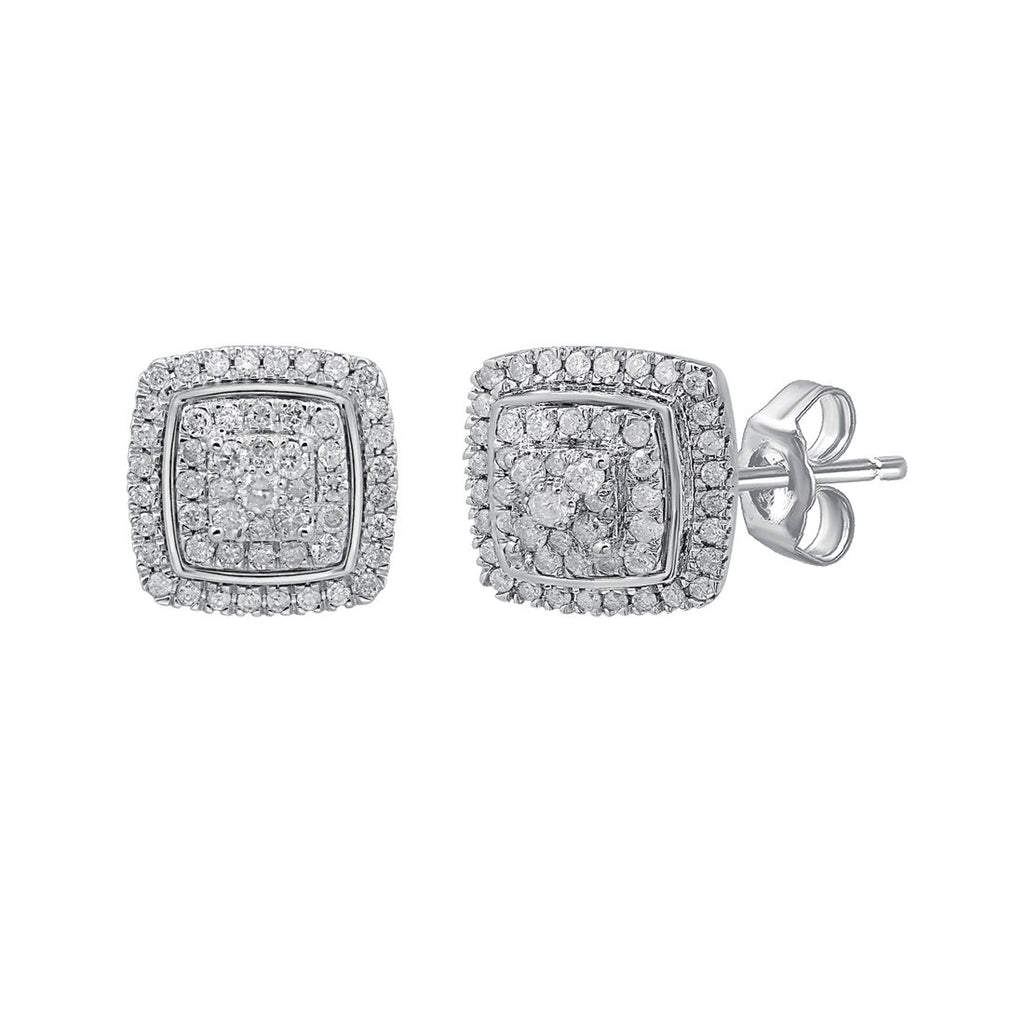 Brilliant Double Halo Square Look Earrings with 1.00ct of Diamonds in Sterling Silver Earrings Bevilles