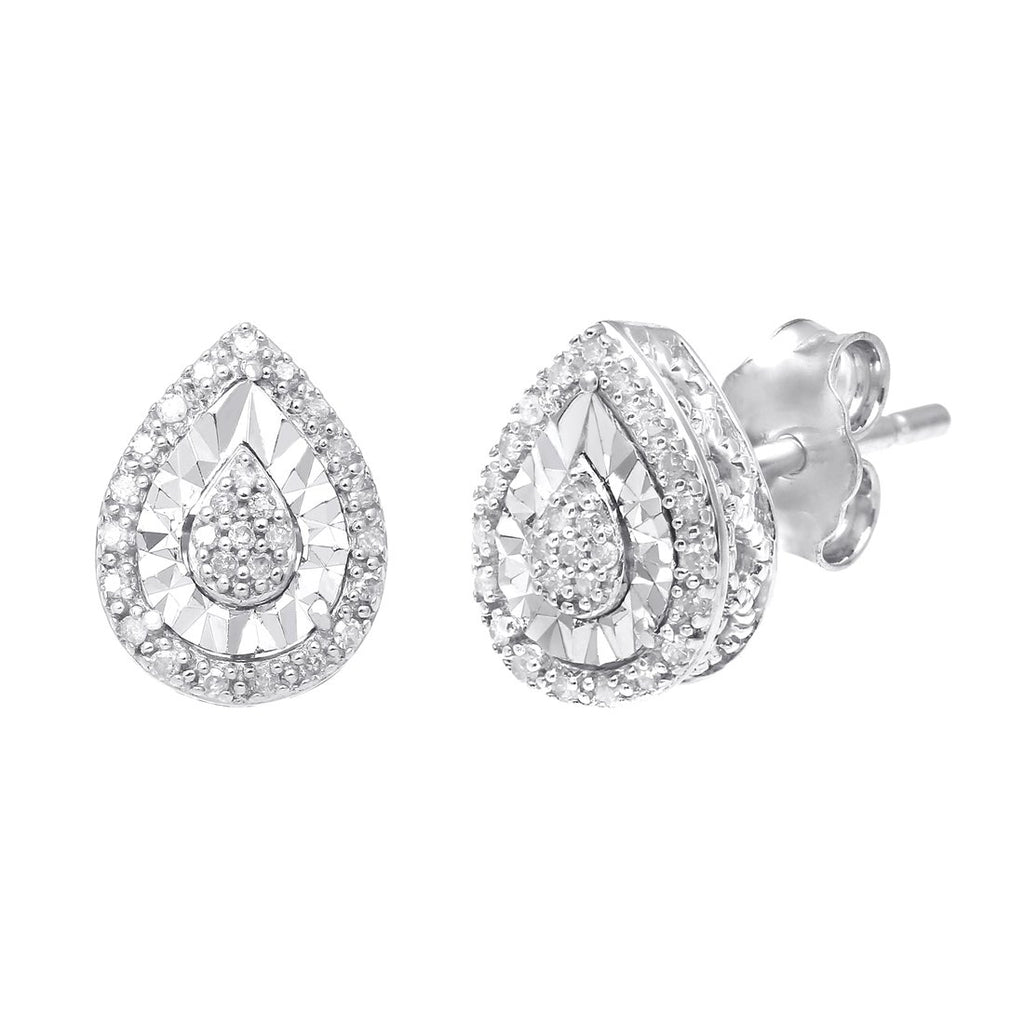 Sterling Silver 0.10ct Diamond Pear Earrings