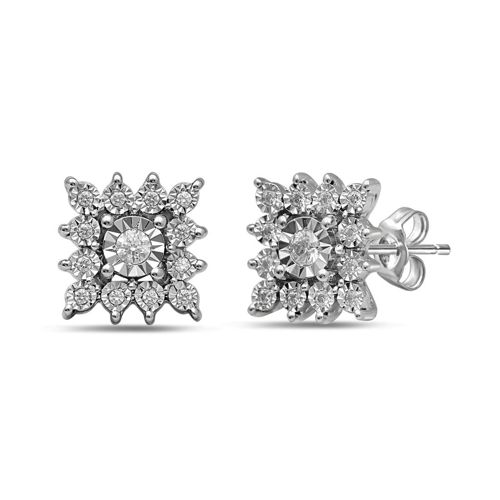 Sterling Silver 0.20ct Diamond Square Star Look Stud Earrings Earrings Bevilles