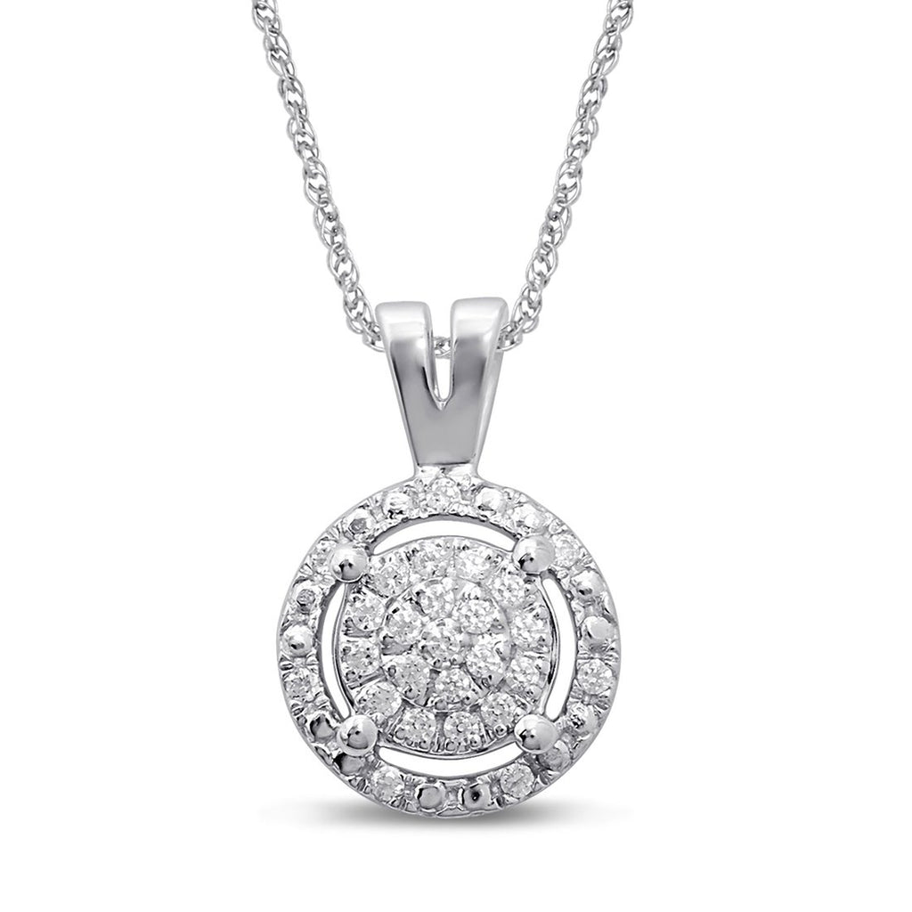 Martina Solitaire Look Halo Necklace with 0.10ct of Diamonds in Sterling Silver Necklaces Bevilles