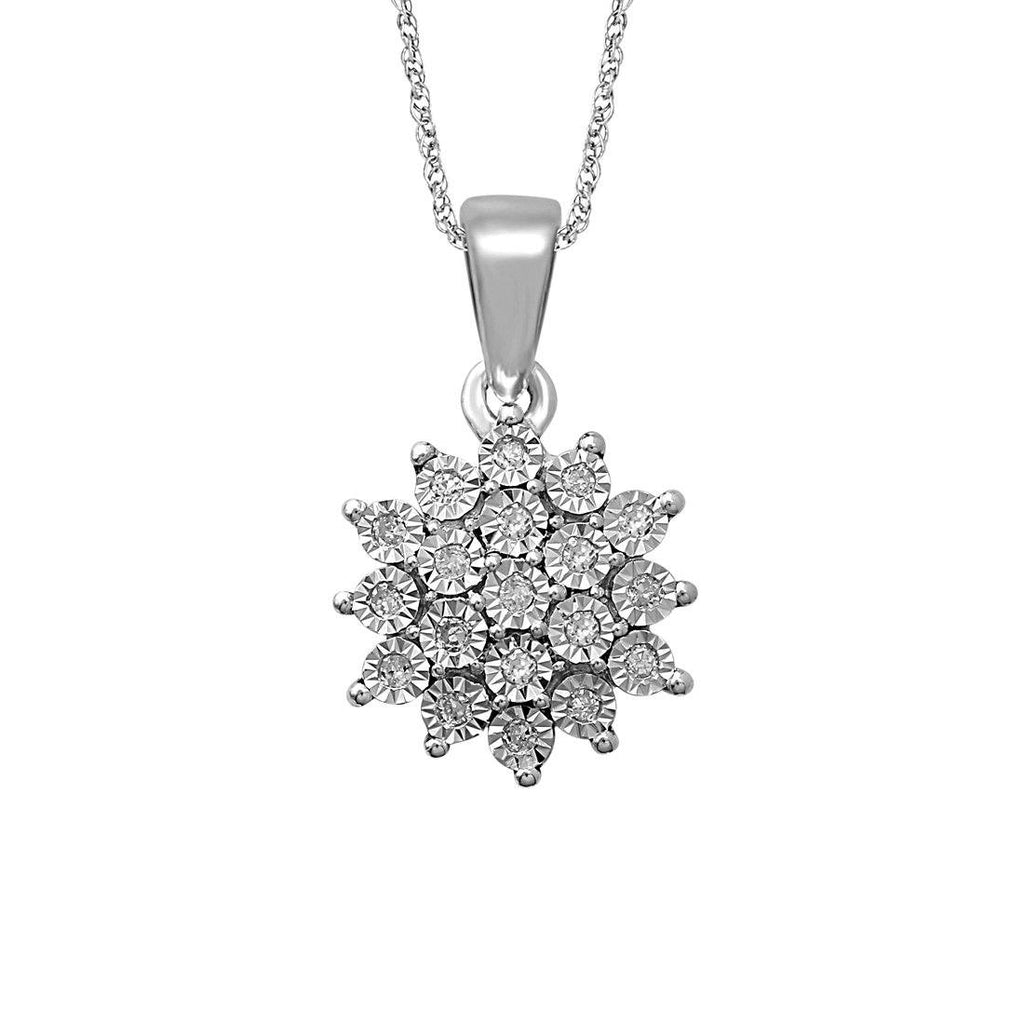 Sterling Silver 0.07ct Diamond Cluster Necklace