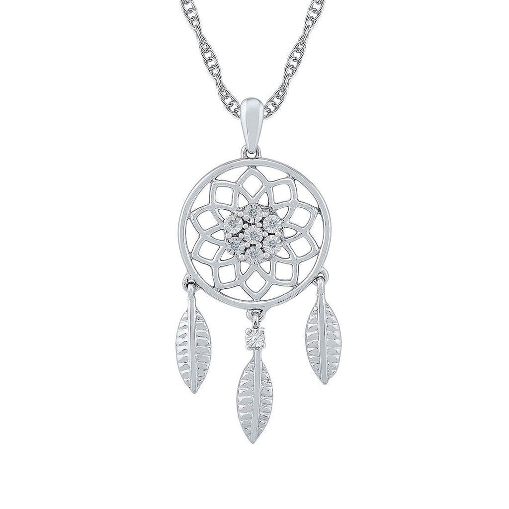 Sterling Silver 0.03ct Diamond Dreamcatcher Necklace Necklaces Bevilles