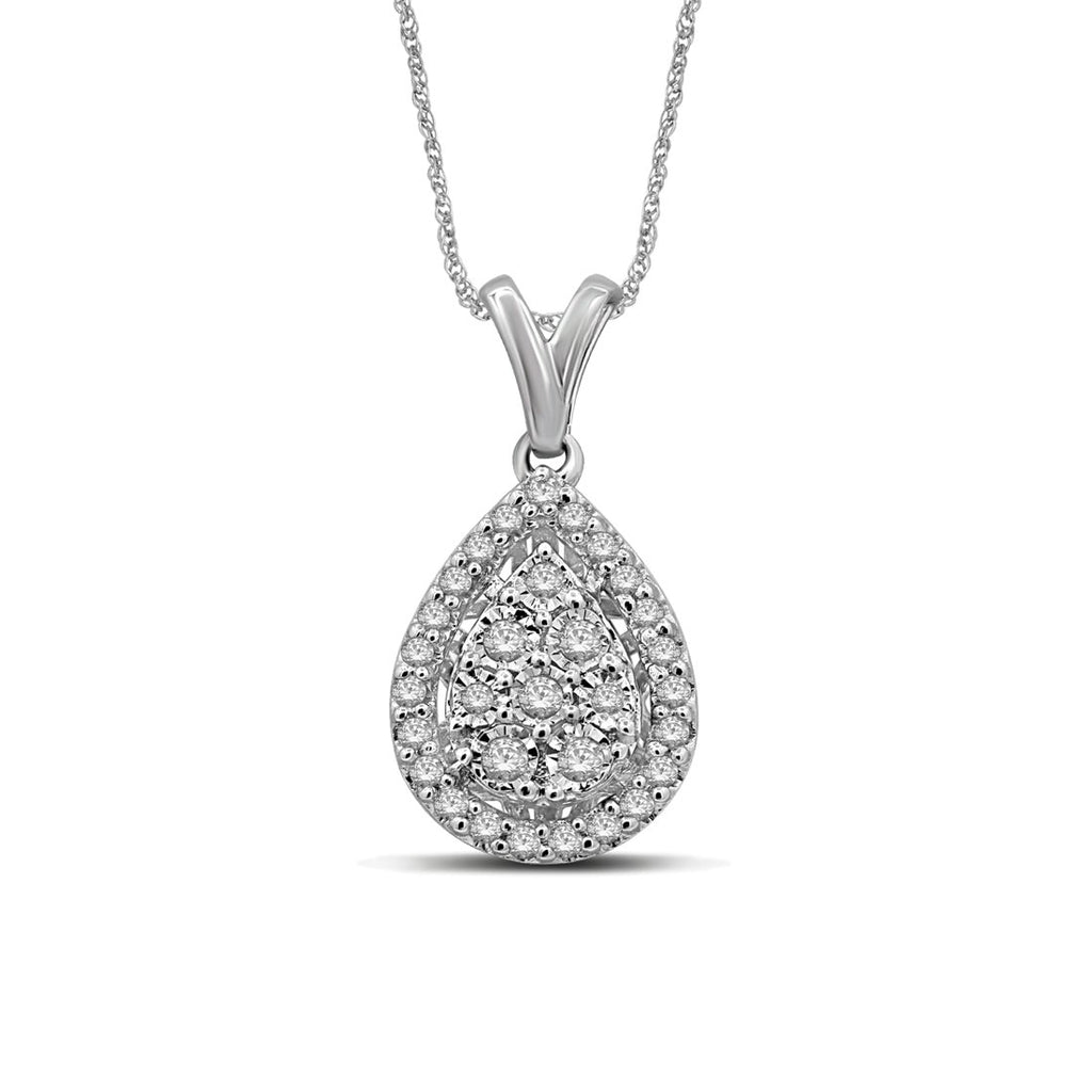 Sterling Silver 0.25ct Diamond Pear Necklace Necklaces Bevilles