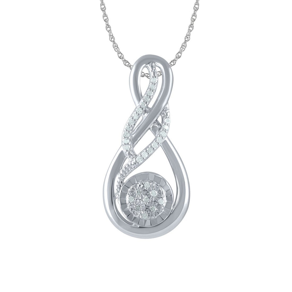 Sterling Silver 0.12ctDiamond Swirl Necklace