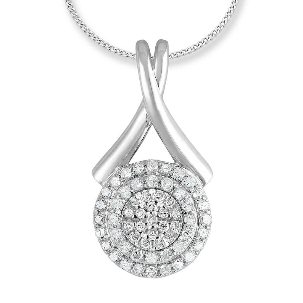 Sterling Silver Halo Pendant with 0.50ct of Diamonds Necklaces Bevilles